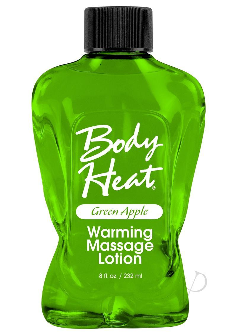 Body Heat Edible Warming Massage Lotion Green Apple 8 Ounce