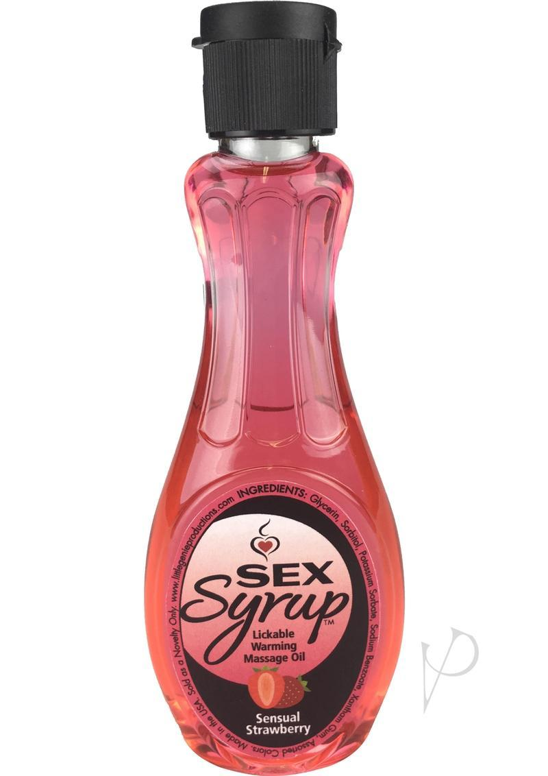 Sex Syrup Lickable Warming Massage Oil Sensual Strawberry 4 Ounce